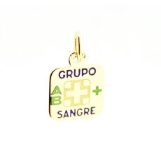 CHAPA GRUPO SANGUINEO AB+ EN ORO DE 18KT