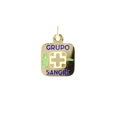 CHAPA GRUPO SANGUINEO AB- EN ORO DE 18KT